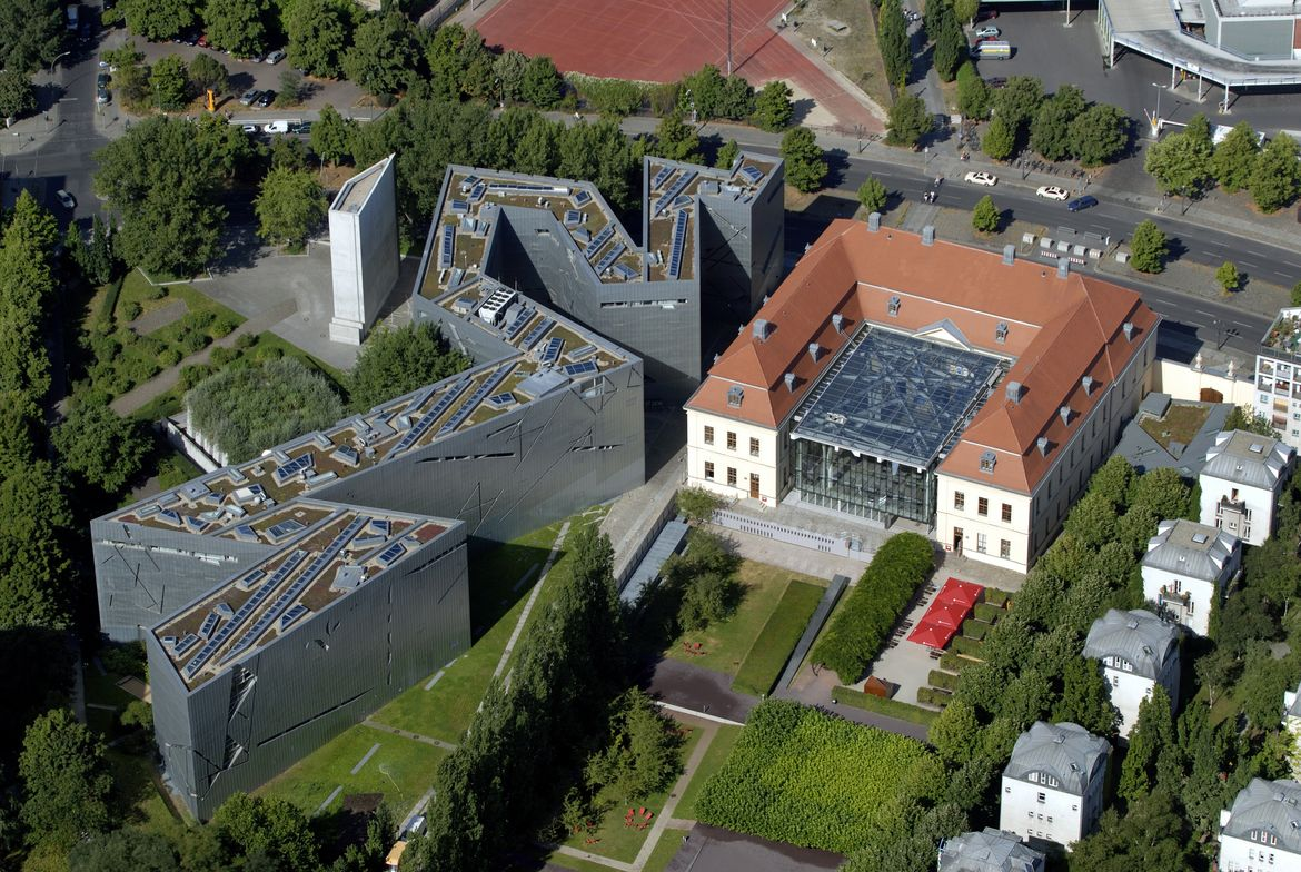 The Jewish Museum in Berlin in aerial view with the Libeskind Building on the left side